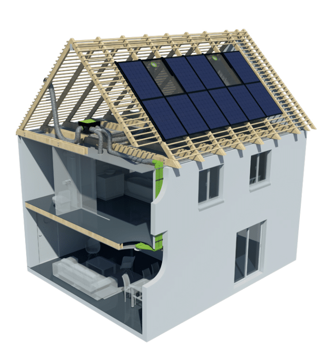 plan construction d'une maison avec ventilation solaire autonome